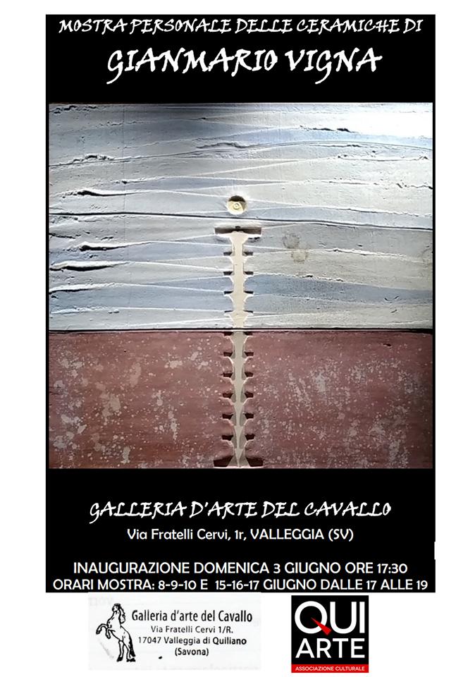 mostra personale di Gianmarco Vigna, ceramiche. Presso la Galleria Cavallo del Centro dell'arredamento Ligure