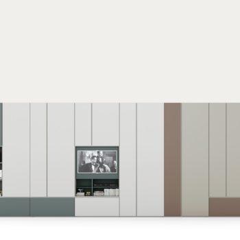 grafik armadio con vani a giorno e modulo tv by caccaro al centro dell'arredamento di savona