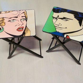 tavolino comic ispirazione lichtenstein al centro dell'arredamento ligure camerette