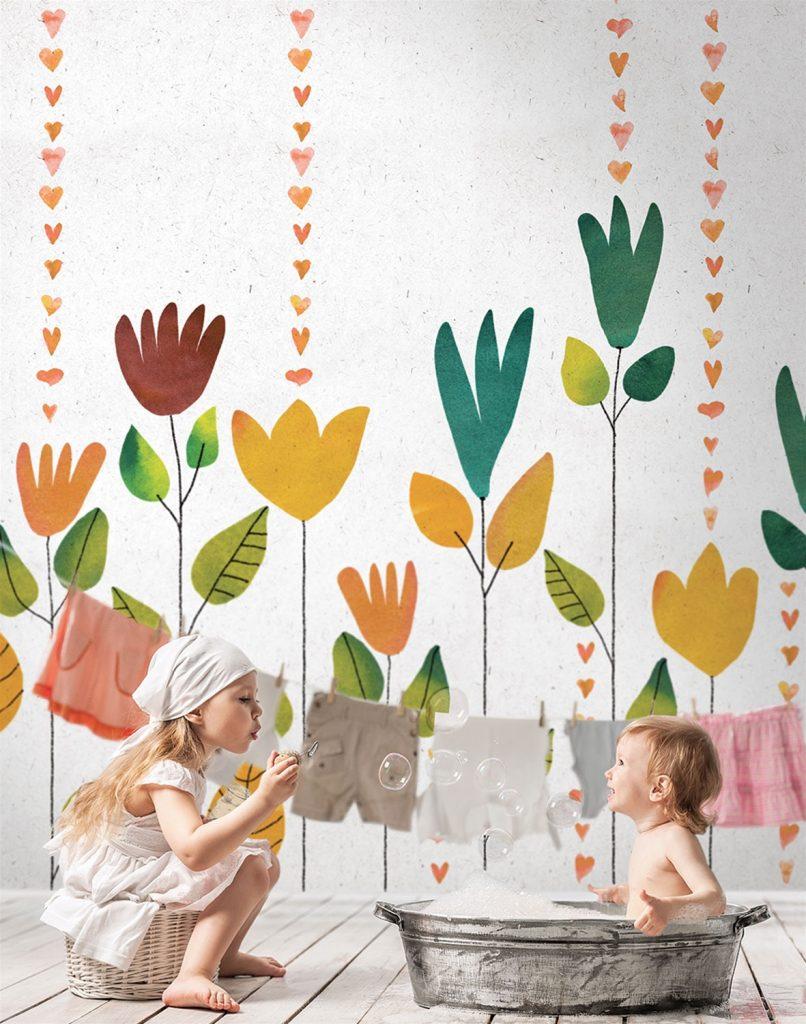 carta da parati per bambini al centro dell'arredamento ligure