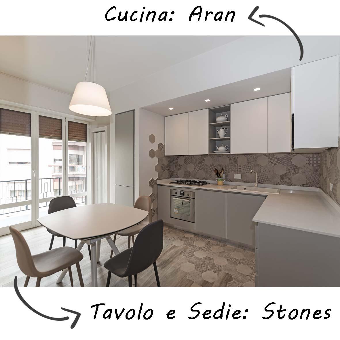 cucina-aran-sedie-tavolo-stones-centro dell'arredamento-savona