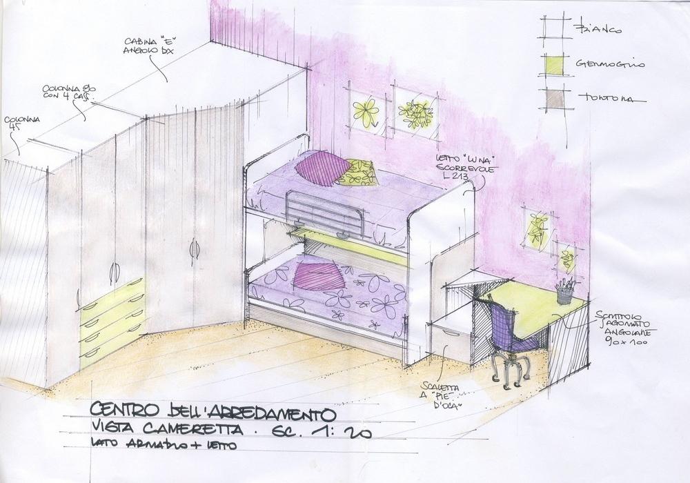 Progetto cameretta per bambini fatto a mano libera for Progettare cameretta 3d
